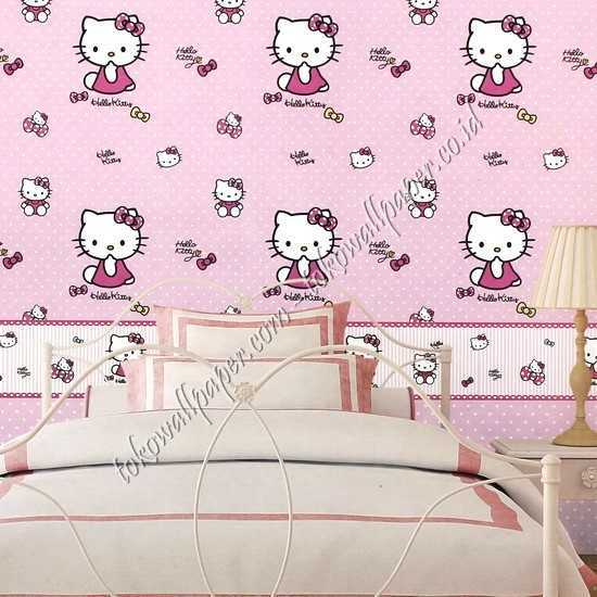 Grosir wallpaper kamar anak Hello Kitty